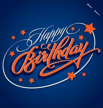 urodziny: SZCZĘŚLIWY ręka BIRTHDAY wektor liternictwo Ilustracja