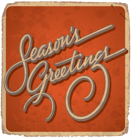 hand-lettered vintage christmas card - with handmade calligraphy grunge effects in a separate layer