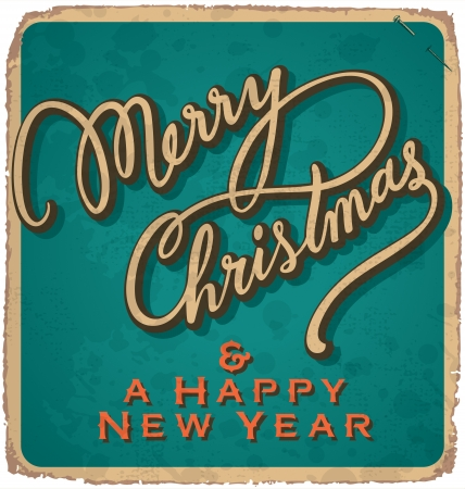 hand-lettered vintage christmas card - with handmade calligraphy grunge effects in a separate layer Stock Vector - 16821761