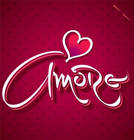AMORE hand lettering  vector  Illustration