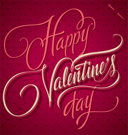 HAPPY VALENTINES DAY hand lettering  vector Stock Vector - 17584143
