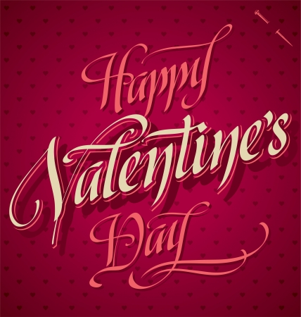 HAPPY VALENTINES DAY hand lettering  vector  Illustration