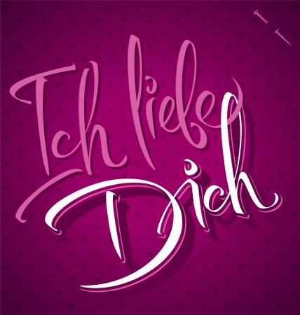 in liebe: ICH LIEBE DICH hand lettering  vector