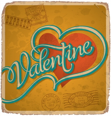 hand-lettered vintage valentines card (vector) Stock Vector - 17584240