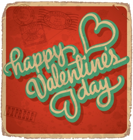 hand-lettered vintage valentines card (vector) Stock Vector - 17584243