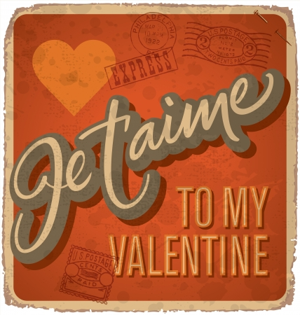 hand-lettered vintage valentines card (vector) Stock Vector - 17584245