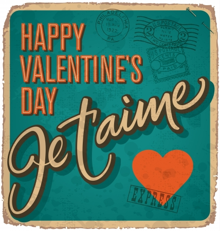 hand-lettered vintage valentines card (vector) Stock Vector - 17584236