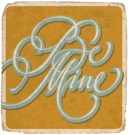 hand-lettered vintage valentines card Stock Vector - 17584136