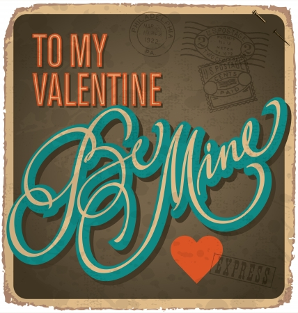hand-lettered vintage valentines card (vector) Stock Vector - 17584241
