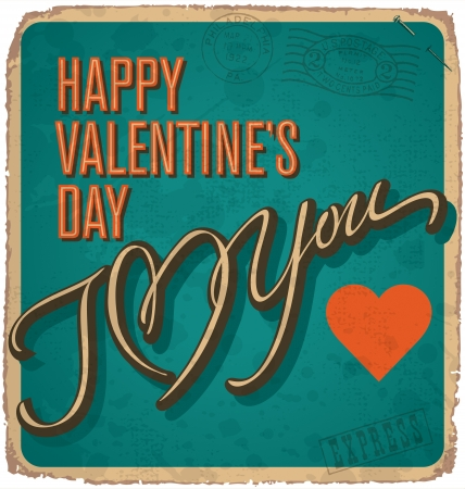 hand-lettered vintage valentines card  Stock Vector - 17584139