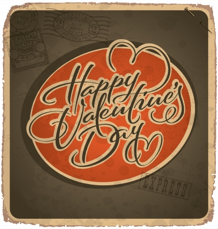 hand-lettered vintage valentines card (vector) Stock Vector - 17584244