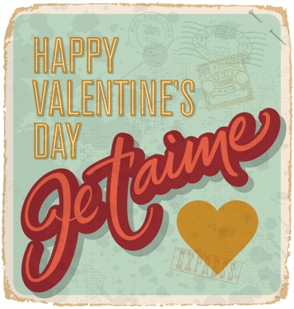 hand-lettered vintage valentines card (vector) Stock Vector - 17584239