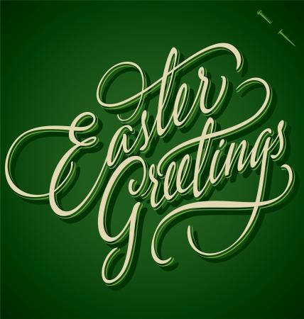 typography signature: Saludos de Pascua vector letras de la mano