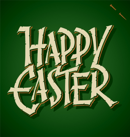 typography signature: HAPPY EASTER hand lettering  vector  Illustration
