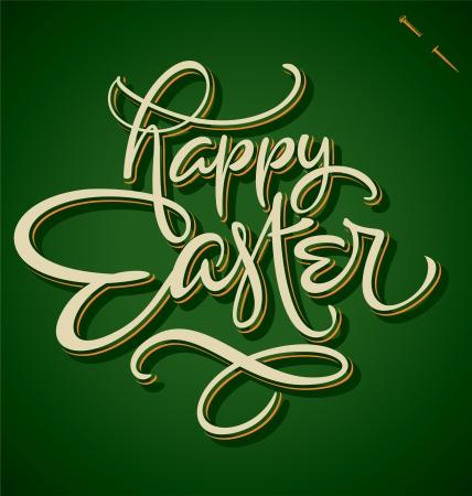 HAPPY EASTER hand lettering  vector  Illustration
