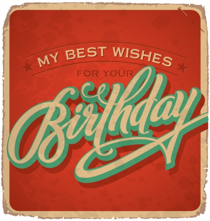 hand-lettered vintage birthday card  vector