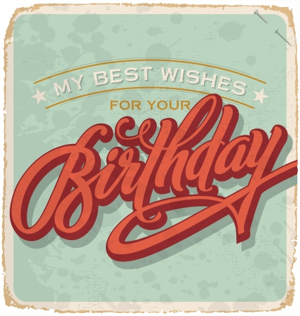 hand-lettered vintage birthday card  vector  Vector