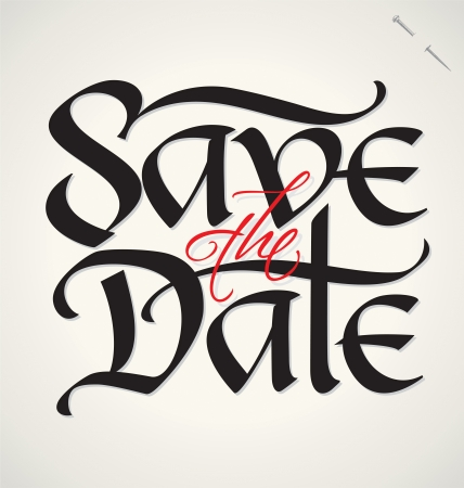 SAVE THE DATE hand lettering  vector  Çizim