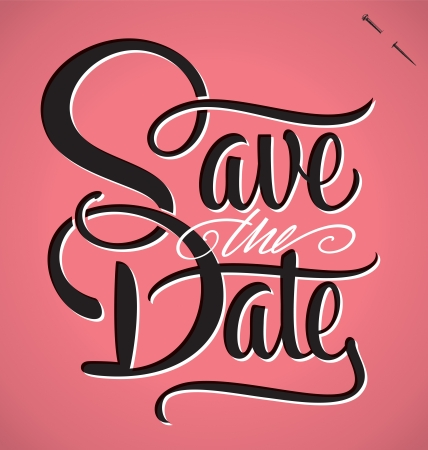 script: SAVE THE DATE hand lettering  vector  Illustration