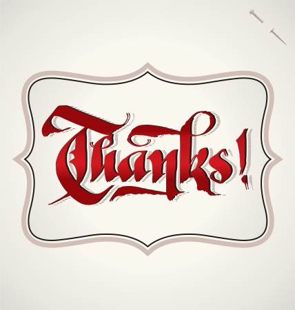 THANKS hand lettering  vector  Illustration