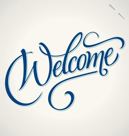 Welkom hand belettering vector