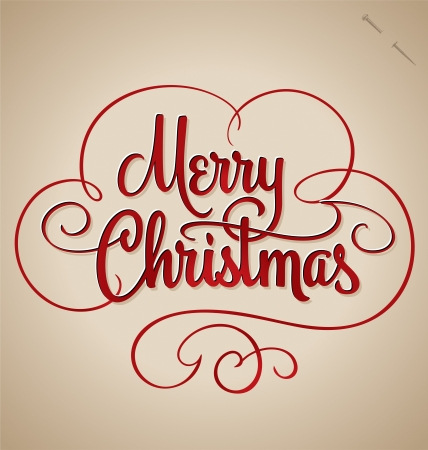 MERRY CHRISTMAS hand lettering  vector  Vector