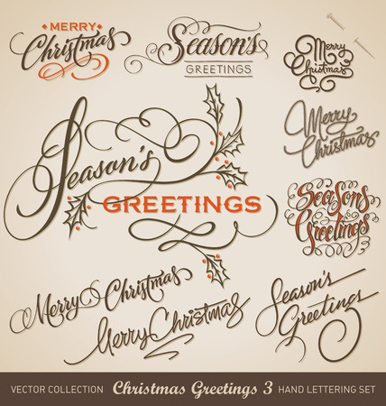greeting card: Set of 9 hand-lettered CHRISTMAS GREETINGS -- handmade calligraphy, vector  eps8  Illustration