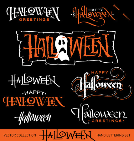 Set of 8 HALLOWEEN hand lettering pieces -- handmade calligraphy, vector  eps8  Vector