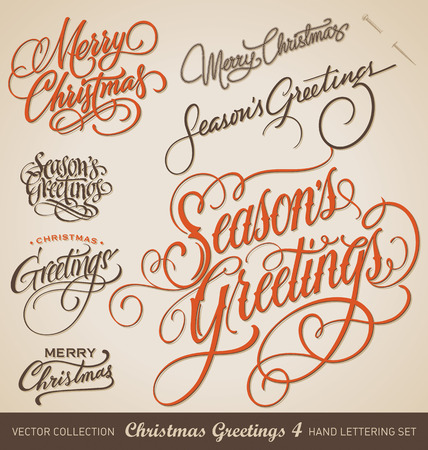 Set of 7 hand-lettered CHRISTMAS GREETINGS -- handmade calligraphy, vector  eps8  Çizim