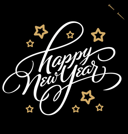 HAPPY NEW YEAR hand lettering, vector  eps8