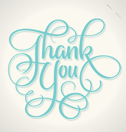 with thanks: THANK YOU hand lettering -- handmade calligraphy, vector  eps8