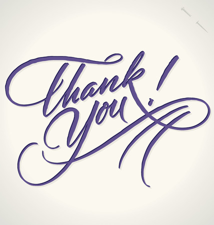 script: THANK YOU hand lettering -- handmade calligraphy, vector  eps8
