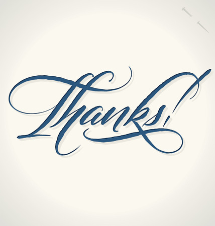 typography signature: THANKS hand lettering -- handmade calligraphy, vector  eps8  Illustration