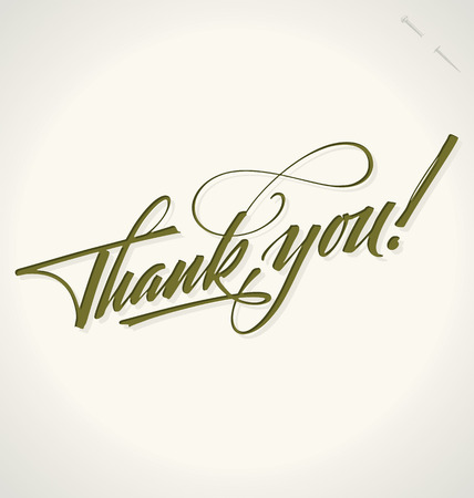 penmanship: THANK YOU hand lettering -- handmade calligraphy, vector  eps8