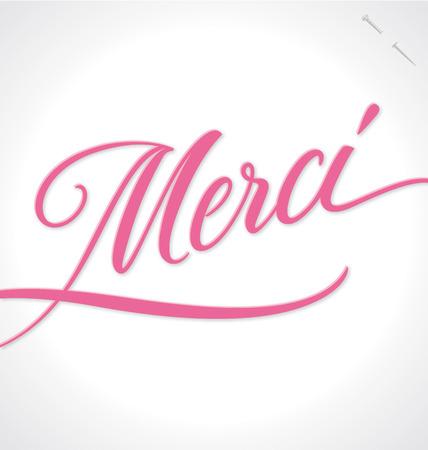 MERCI hand lettering -- handmade calligraphy, vector  eps10