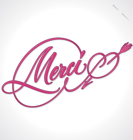 typography signature: Hand lettering MERCI - caligraf�a hecha a mano, vector eps10 Vectores