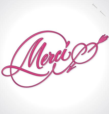 typography signature: MERCI hand lettering -- handmade calligraphy, vector  eps10