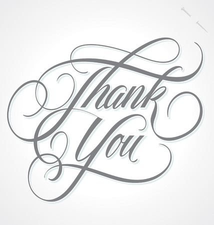types: THANK YOU hand lettering -- handmade calligraphy, vector  eps8