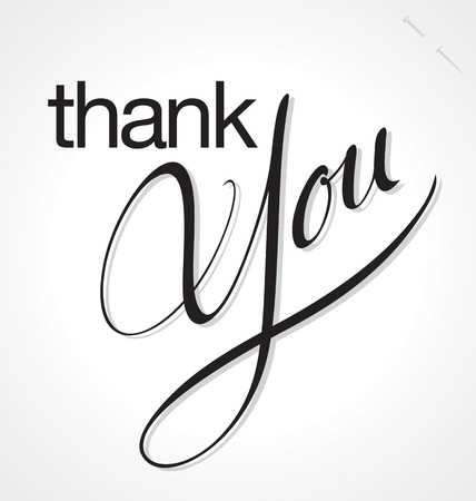 penmanship: THANK YOU hand lettering, vector  eps8