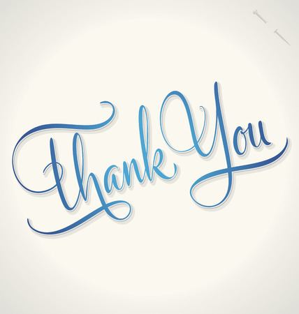 thank: THANK YOU hand lettering -- handmade calligraphy, vector  eps8
