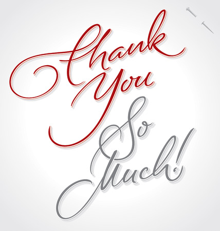 typography signature: THANK YOU VERY MUCH hand lettering -- handmade calligraphy, vector  eps8