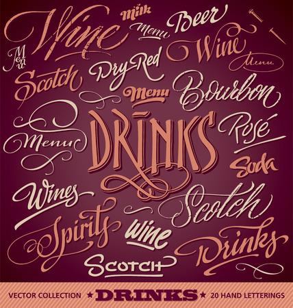 DRINKS menu headlines set of 20 hand letterings -- handmade calligraphy, vector  eps8  Illustration