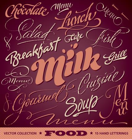 FOOD menu headlines set of 15 hand letterings  Vector