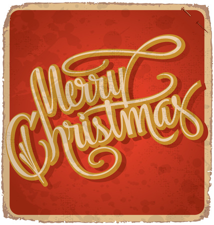 grunge layer: hand-lettered vintage christmas card - with handmade calligraphy, grunge effects in a separate layer