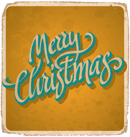 MERRY CHRISTMAS hand lettering vintage card -- with custom handmade calligraphy and grunge effect (vector) Illustration
