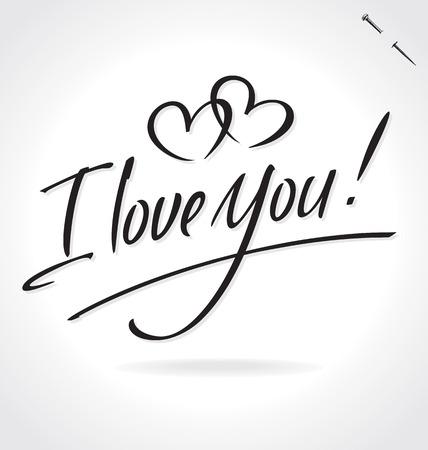 私はあなたを愛しオリジナル カスタム手レタリング ― の手作り書道 (ベクトル)  イラスト・ベクター素材