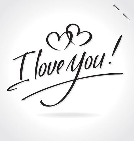 love: I LOVE YOU original custom hand lettering -- handmade calligraphy (vector)