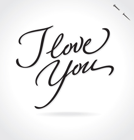 love notes: I LOVE YOU original custom hand lettering -- handmade calligraphy (vector)