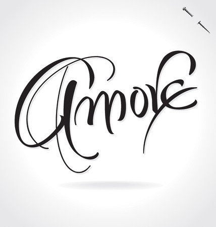 AMORE (Love in Italian) original custom hand lettering -- handmade calligraphy, vector (eps8); typography background overlay for romantic photo cards party invitations for Valentines Day or wedding; Illustration