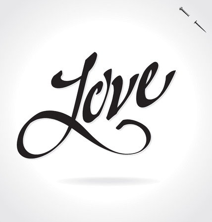 LOVE original custom hand lettering -- handmade calligraphy, vector (eps8); typography background overlay for romantic photo cards party invitations for Valentines Day or wedding